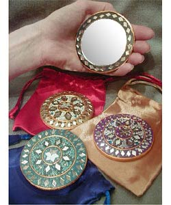 Set of 6 Purse Mirrors with Satin Pouches (India)