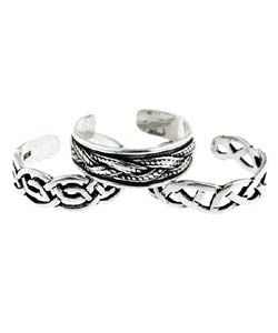 CGC Sterling Silver Classic Celtic Toe Ring Set