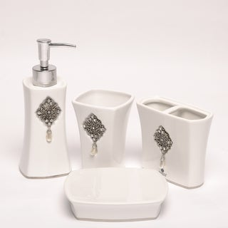 Jewel White Boutique Faux-jewel Ceramic Bath Accessory 4-piece Set