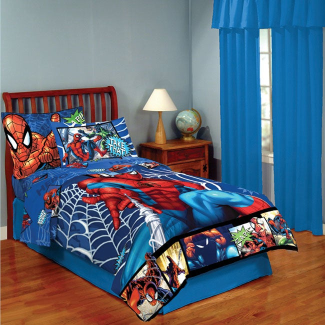 spider man 4 piece twin size bed in a bag with sheet set overstock shopping the best prices. Black Bedroom Furniture Sets. Home Design Ideas