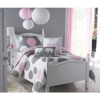 big believers pink parade 2 piece twin size comforter set overstock shopping the best prices. Black Bedroom Furniture Sets. Home Design Ideas