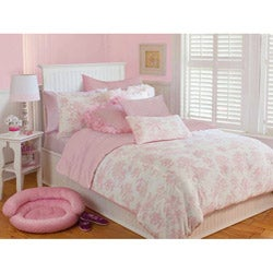Microplush Pink Toile Twin-Size 2-piece Comforter Set