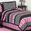 Sweet JoJo Designs Girl&#39;s Pink/ Black Madison 3-piece Full/ Queen-size Quilt Set