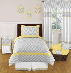 Sweet JoJo Designs Grey and Yellow Zig Zag 4-piece Twin-size Bedding Set