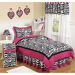 Sweet JoJo Designs Pink/ Black/ White 4-piece Twin-size Comforter Set