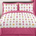 Sweet JoJo Designs Pink Happy Owl 3-piece Full/Queen Bedding Set