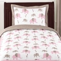Sweet JoJo Designs Pink Mod Elephant 4-piece Twin-size Bedding Set