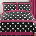 Sweet JoJo Designs Pink and Black Hot Dot 3-piece Full / Queen-size Bedding Set