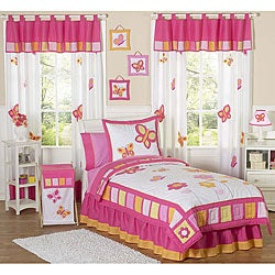 Sweet JoJo Designs Pink and Orange Butterfly 4-piece Twin-size Girl's Bedding Set