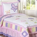 Sweet JoJo Designs Pink and Purple Butterfly 4-piece Twin-size Girl&#39;s Bedding Set