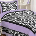 Sweet JoJo Designs Purple Funky Zebra 4-piece Twin-size Bedding Set