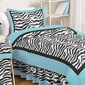 Sweet JoJo Designs Turquoise Funky Zebra 4-piece Twin-size Bedding Set