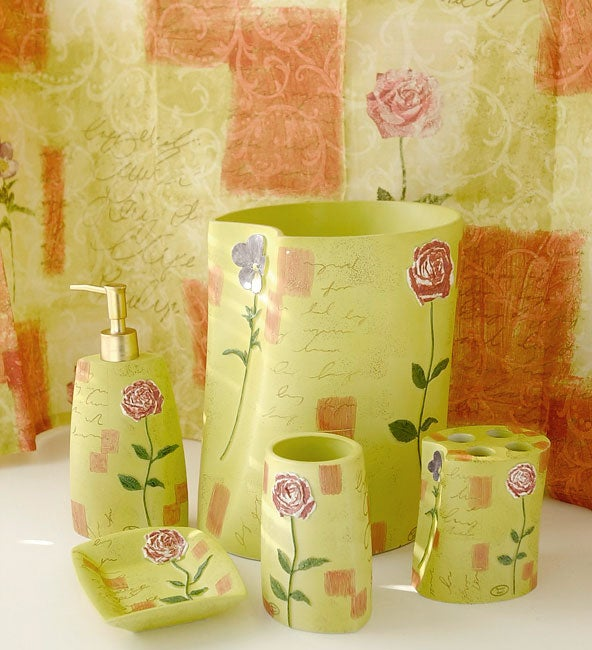 Waverly Rose Bathroom Accessories Set w/ Shower Curtain