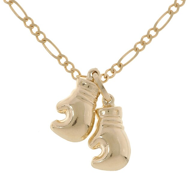 14 kt yellow gold boxing gloves necklace 10029995