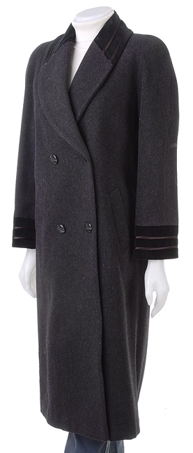 Alorna Long Wool Coat w/Velvet Collar & Cuffs