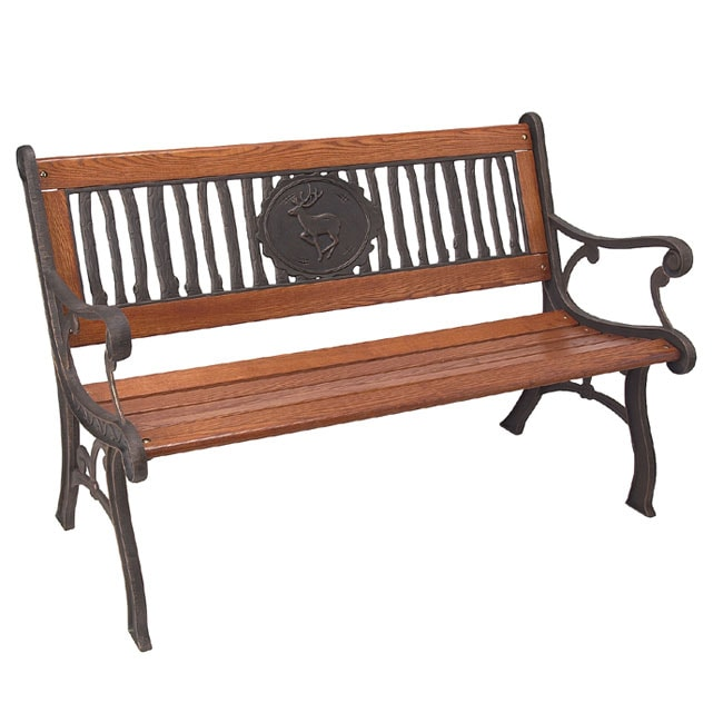 Rustic Deer Inlay Bench 10041700 Shopping Great Deals On Outdoor Benches