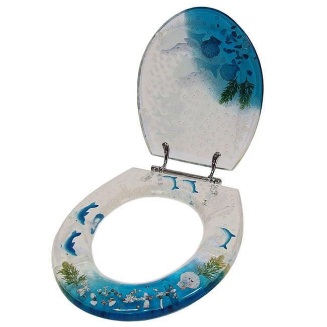 transparent acrylic blue dolphins toilet seat 10044220