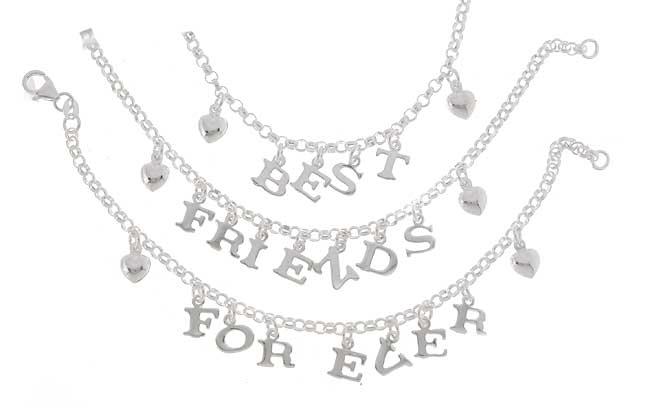 Sterling Silver Best Friends Three piece Bracelet Set