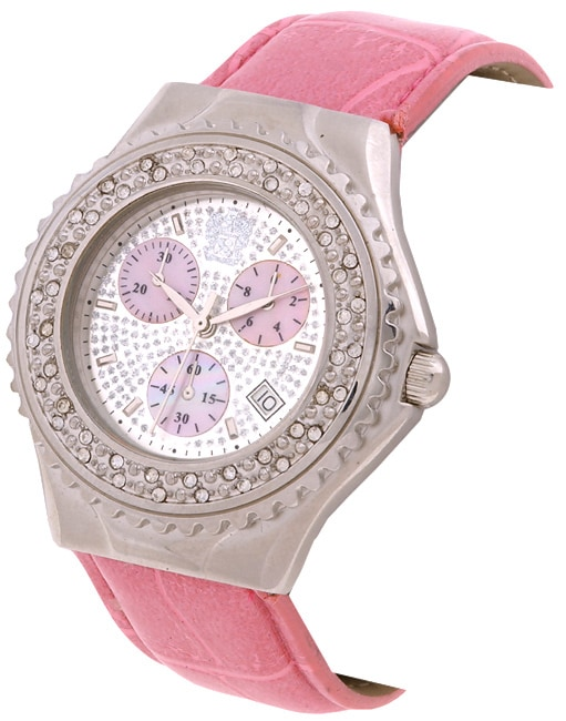 Paolo Gucci Women's Paved Pink Strap Watch