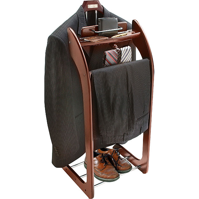 Mahogany Finish Clothes Valet Stand - 10101781 - Overstock ...