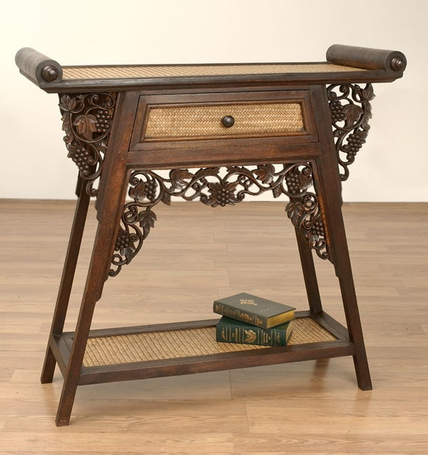 Hand Carved Mango Wood And Reed Table Thailand
