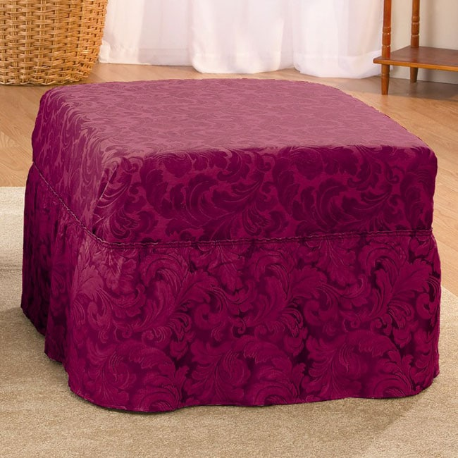 Burgundy Scroll Ottoman Slipcover