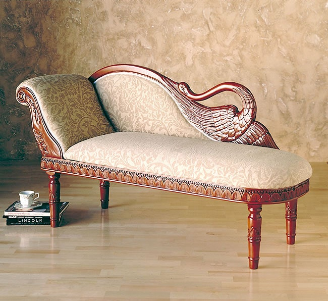 Hand carved swan chaise lounge 1011333 for Carved chaise lounge