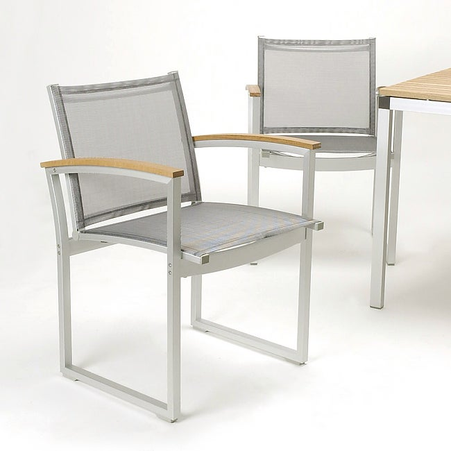 Glades Outdoor Aluminum Dining Chairs (Set of 2)
