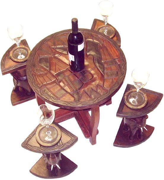 Handcrafted Elephant Table Set (Ghana)