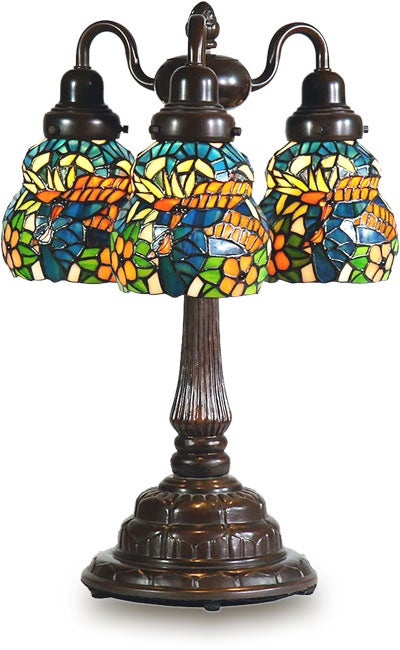 Tiffany-style Coral Blue Three-shade Table Lamp