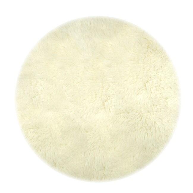 Greek Flokati White Round Wool Rug (3' Round)
