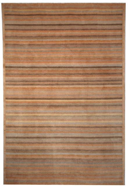 Safavieh Hand-knotted Stripes Apricot/ Sage Tibetan Wool Rug (4' x 6')