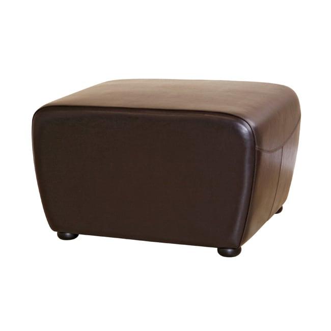 Brown Bi-cast Leather Ottoman