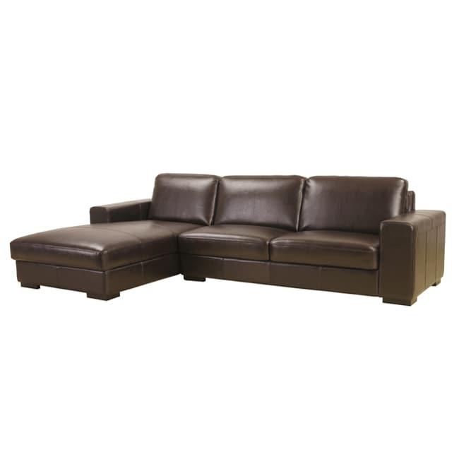 Dana Brown Bi-cast Leather Sectional Sofa