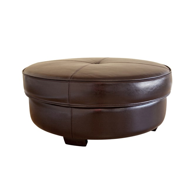 Large Round Ottoman : Howard Brown Bi-cast Leather Large Round Ottoman - 10161091 ...