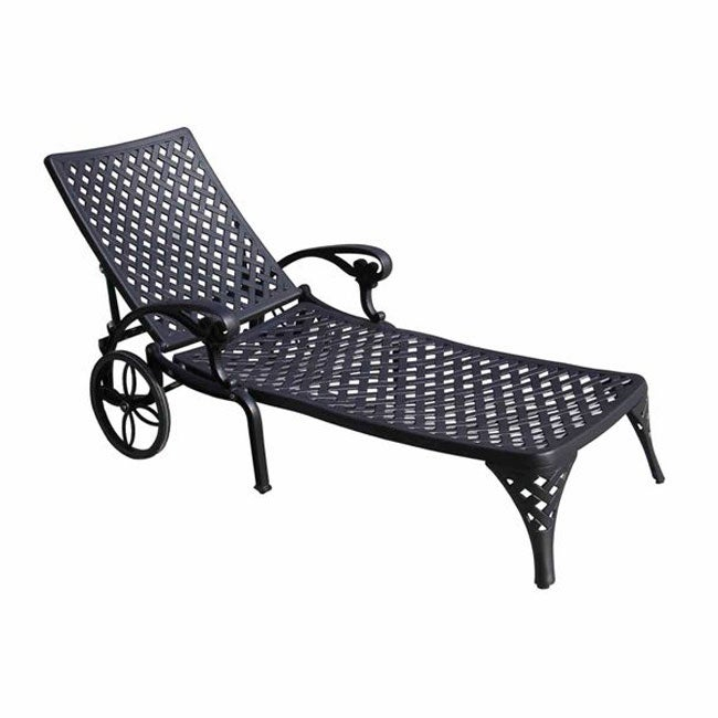 Cast aluminum cross chaise lounge 10172253 overstock for Cast aluminum outdoor chaise lounge