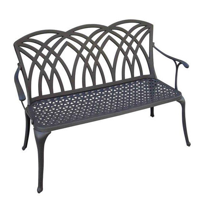Palm Back Cast Aluminum Black Garden Bench