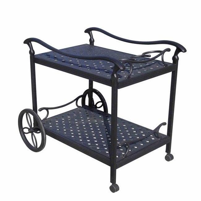 Cast Aluminum Rolling Tea Cart