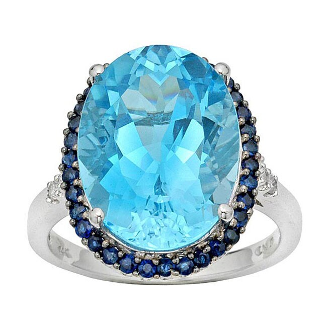 14k White Gold Diamond Blue Topaz Ring