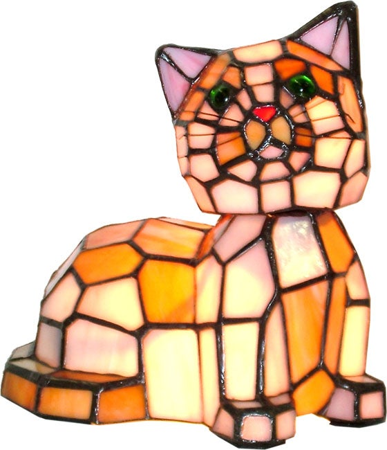 Tiffany Style Bobble Head Cat Lamp 1019496 Overstock