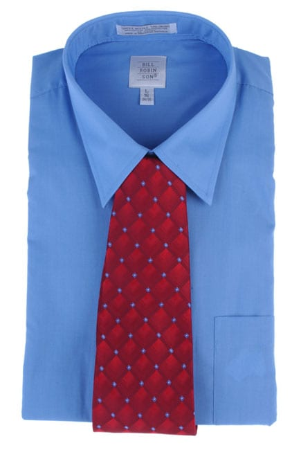 Bill Robinson Men's Blue Dress Shirt with Red Tie Set