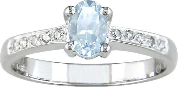 14 kt. White Gold Diamond Aquamarine Ring