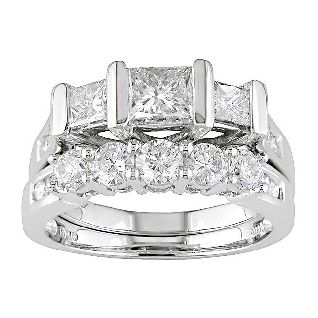 14k White Gold 2 ct TW Diamond Bridal Ring Set