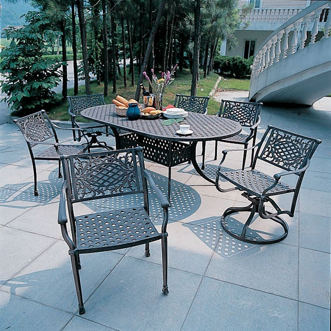 Napoli Cast Aluminum 7 piece Patio Furniture Set Overstock S