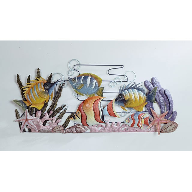 Hand-painted New Fish Metal Wall Art