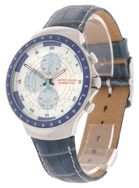 United colors of benetton men 39 s ivory dial chronograph watch 10220534 shopping for Benetton watches