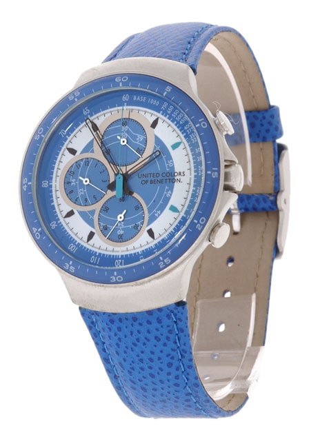 United colors of benetton blue white dial chronograph watch overstock shopping big discounts for Benetton watches