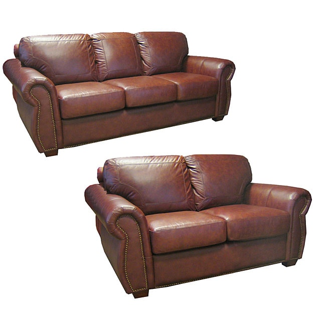 Luxurious Brown Leather Sofa And Loveseat 10264848 Shopping Great Deals On