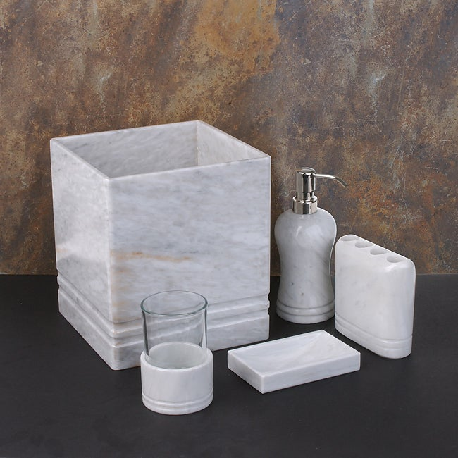 Http Www Overstock Com Bedding Bath White Marble Bath Accessories 1956789 Product Html