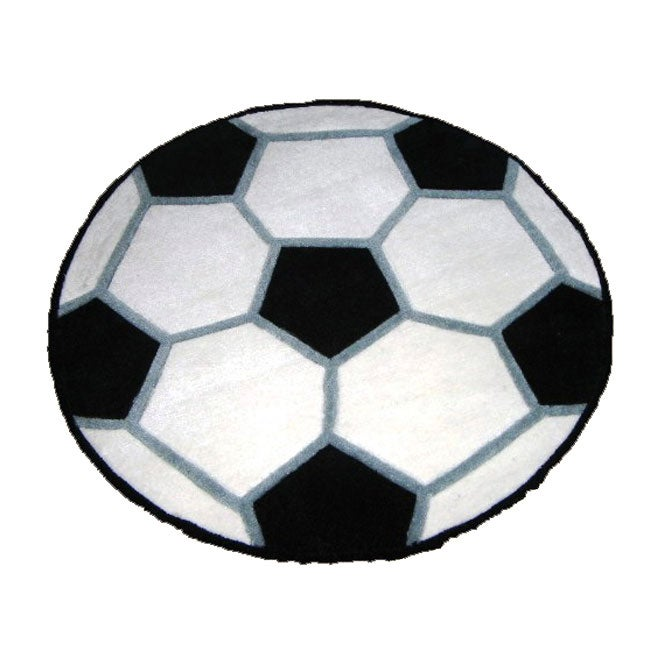 Hand-tufted Soccer Ball Rug (3' Round)